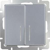 WERKEL Выключатель 2-кл. проходной с подсветкой (серебро)