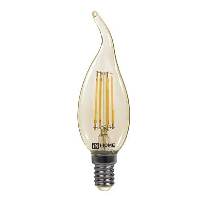 Лампа светодиодная IN HOME E14  7Вт свеча на ветру прозрачн. 3000К 630Лм