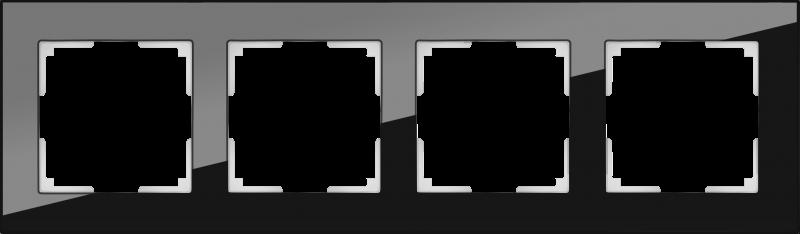 WERKEL FAVORIT Рамка на 4 пост (черный, стекло)