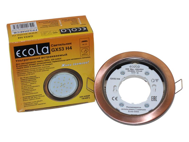 Светильник Ecola GX53 Н4 черненая медь