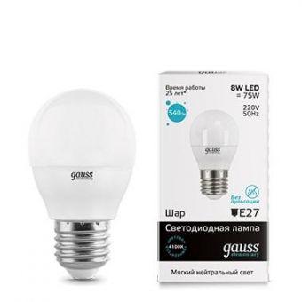Лампа светодиодная Gauss E27  8Вт Шар Elementary 4000К