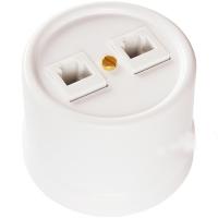 BIRONI белый пластик розетка телеф.+ комп. RJ11+RJ45