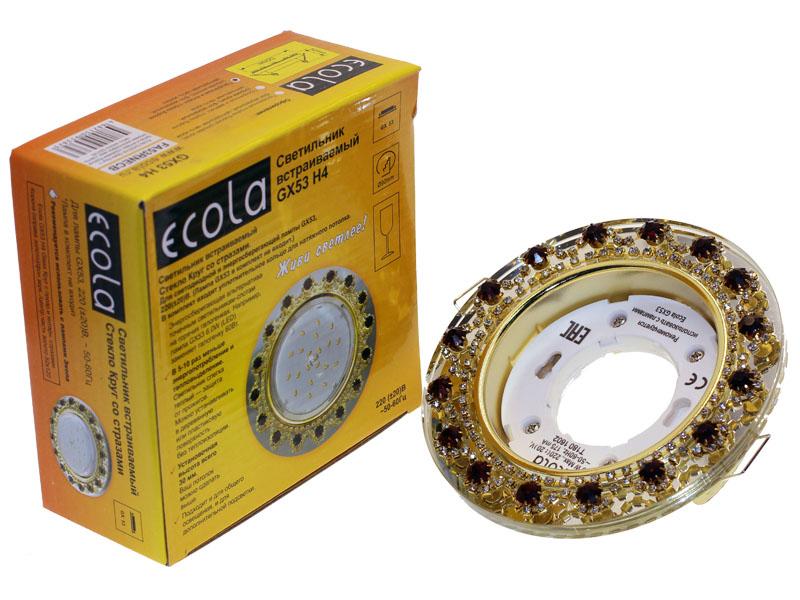 Светильник Ecola GX53 H4 круг с прозрачными стразами янтарь корона золото хром
