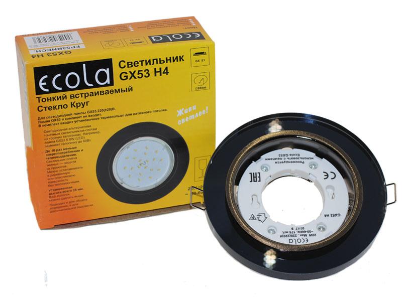 Светильник Ecola GX53 H4 стекло круг черный хром черный