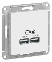 Мех-м розет. 2-м USB Atlas белая