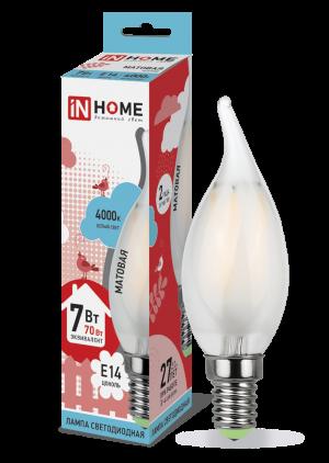 Лампа светодиодная IN HOME E14  7Вт свеча на ветру матовая deco 4000К 630Лм