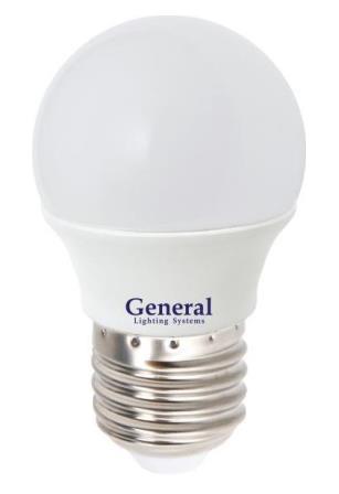 Лампа светодиодная General E27 8Вт шар 6500К 650Лм ПРОМО Распродажа!